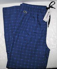 Lacoste Mens Pajama Bottoms Lounge Pants Blue All Over Logo Mazarine Blue XL NWT