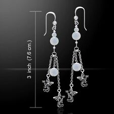 Dragon Rainbow Moonstone .925 Sterling Silver Earrings by Peter Stone