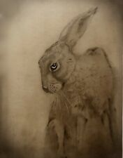 The Great Hare. Stunning Original Signed English Drawing Print Antique Parchment
