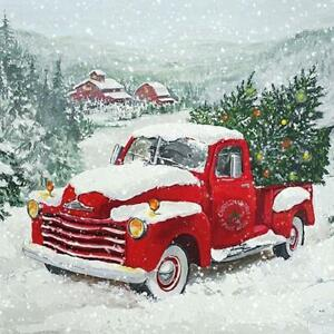 4 individual Christmas Trees in red truck decoupage napkins, scrapbooking
