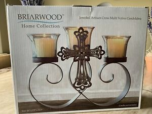 Briarwood Home Collection Jeweled Artisan Cross Votive Candleabra Brand New