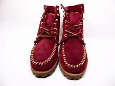 SEBAGO EXO Bordeaux Nubuck Suede  B50130 Lace Up Lug Sole Ankle Boots Size 10M