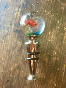 Vintage Murano Italy Glass Wine Bottle Stopper ~ Clear Round Aquarium Fish