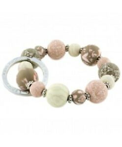 NEW JILZARAH Handmade Clay Beads HENNA ROSE PINK 15mm SMALL Wrist Keychain