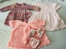 Lot Of 3 Vintage Hand Knit Baby Dresses Booties And Hat 0-6 Months Pink