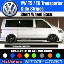 VW Transporter T5 Rayas Laterales Pegatinas Calcomanías Gráficos Dub T6 SWB Cualquier Color