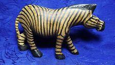 Hand Carved Wooden Zebra Figurine