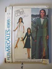 1976 McCalls Pattern 4965 Marlo Thomas Jacket Skirt & Pants Sz 18 Uncut