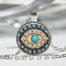 simulated Diamond eye of the demon Tibetan silver Glass Chain Pendant Necklace
