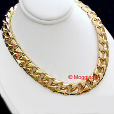 """New 9mm Mens SQUARE CURB Link 18"""" Gold GL MENS Necklace 