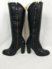 Women's FRYE SYLVIA PIPING Tall Leather Boots Size 8.5M Black