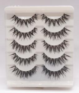 Gracious Makeup Handmade 5Pairs Natural Long False Eyelashes Extension Exquisite