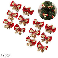 12pcs Cute Bow with Bells Mini Bowknot Christmas Tree Decoration Ornaments Red