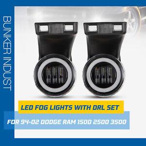 BUNKER INDUST LED Fog Lights with DRL For Dodge Ram 1994-2002 1500 2500 3500