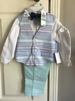 Navy Blue Oxford Vest Set New with Tags Retails $64.50 Nautica Baby Boys 4-Pc