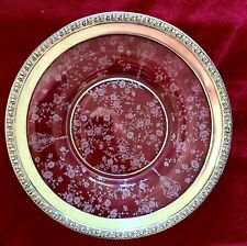"Cambridge Rose Point 9 1/2"" Plate w/ Wallace Sterling Silver Base No Reserve"