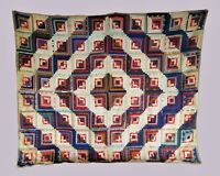 Antique New England 19th Century Red Blue Log Cabin Quilt Crisp Colorful 74x63