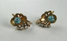 Estate 10k Blue Topaz & Diamond Screw-Back(Non-pierced) Earrings~~Free Shipping!