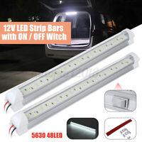 2x 12V Barre Bande intérieur éclairage 48 LED Blanc 5730 Lampe & ON/OFF Switch