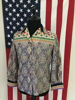 vtg 70s Floral Lightweight Polyester Disco Shirt women LARGE wide collar 1a910