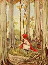 Fairy Tale Postcard: Vintage Print Repro - Red Riding Hood in Woods in Autumn
