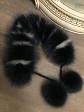 NEW GENUINE FOX FUR SNOOD COLLAR SCARF WITH BOBBLES REAL FUR NAVY WHITE TIPPED