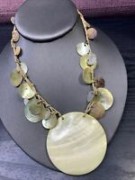 """Bohemian Pale Yellow Beaded Mother Of Pearl   Pendant Strand necklace 16"""" Sogned"""
