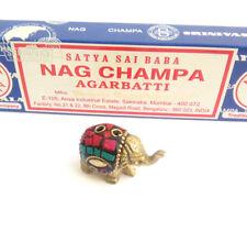 Bronze Metal Elephant incense stick holder FREE Nag Champa ash catcher gift