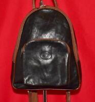 Vintage EURO BAGS Black & Brown Smooth Leather Backpack Sling Shoulder Purse Bag