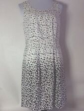 Loft Dress 8 Women's Sheath Gray/Black/Cream Sleeveless Lined Silk Feel