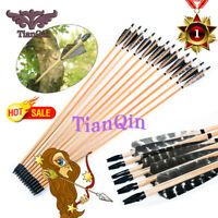 Hunting Archery 6x 80cm Turkey Feather Wood Arrows Bolt for Longbow Recurve Bow