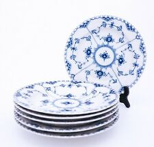 6 Dinner Plates #1084 - Blue Fluted - Royal Copenhagen Full Lace - 1st Quality