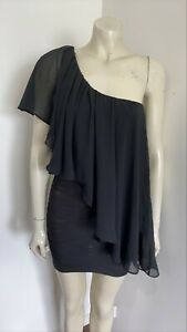 Blockout Black One Shoulder Sexy Bodycon with Chiffon Overlay Mini Dress Size 8