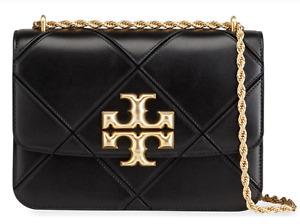 Tory Burch ELEANOR Diamond CONVERTIBLE Shoulder Bag Black Authentic New