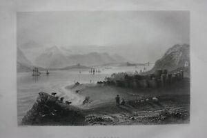 BEAUMARIS, ANGLESEY, WALES, original antique Victorian print, Finden, c.1841