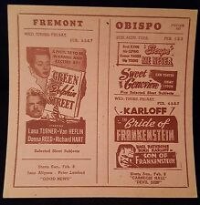 Son Of Frankenstein 1948 ORG Movie Poster Theatre Herald Boris Karloff Bride Of