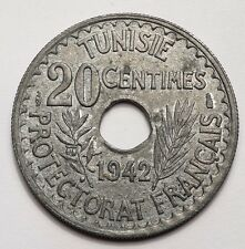 TUNISIE : TRES JOLIE ET ASSEZ RARE 20 CENTIMES 1942