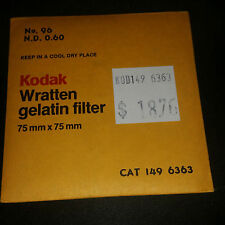 "KODAK WRATTEN GELATIN FILTER - NO 96 0.60 3"" or 75mm Square - New Free Shipping!"