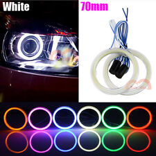 2pcs White 70mm Car Headlight Angel Eyes Cob Halo Rings LED Lights Fog Lamp DRL