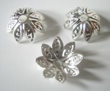 100 Antique Silver Flower Bead Caps, 10mm, Jewelry Making Supplies, Bead Caps