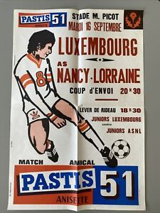 Affiche Football AS Nancy Lorraine Match Amical Pastis 51 Platini 1975