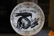 """PLATTER/APPETIZER ETC OR USE AS WALL DECOR PLATE """"THE KING IS CROWNED"""" SKULL.."""