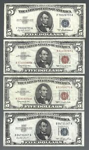 US Small Size Notes 🎇 (1)1953 (1)1953A (2)1963 🎇 $5 x 4 banknotes 🎇 #655