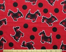 SNUGGLE FLANNEL*RED/BLACK PLAID SCOTTIE DOG & DOTS on RED 100% Cotton Fabric BTY
