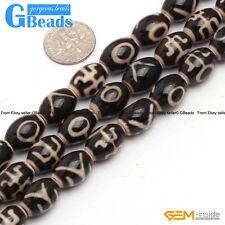 "10x14mm Vintage Tibet Agate Dzi Gemstone Mala Rice Beads For Jewelry Making 15"""