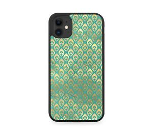 Golden Peacock Feather Symbols Rubber Phone Case Shapes Peacock Cover Edges K998