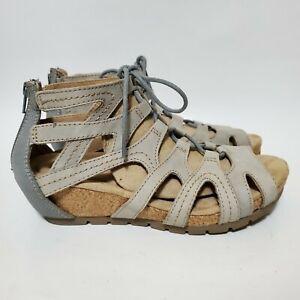 Earth Origins Womens 8 WIDE Kendra Kamilla Gladiator Sandals Blue Grey Cork