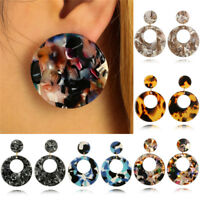 Round Acrylic Dangle Drop Earrings Geometric Ear Studs Earrings Women's Jewelry