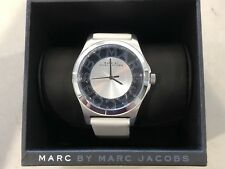 MARC JACOBS HENRY SKELETON WATCH WHITE LEATHER SILVER