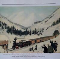 "American Folk Art Print ""SNOW ON RAILROAD, SIERRA.NEVADA MTs"" 10x7.5"